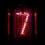 Nixie tubki wskaźnik liczba retro styl cyfra 7 Fotografia Stock