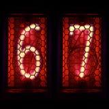Nixie tubki wskaźnika retro styl Cyfra 6, 7 Zdjęcie Royalty Free