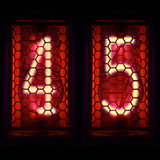 Nixie tubki wskaźnika retro styl Cyfra 4 5 Zdjęcia Stock