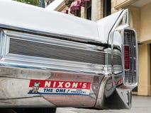 Nixon bumper sticker on a Cadillac. 1965 Cadillac sports a Nixon for President bumper sticker Stock Photography