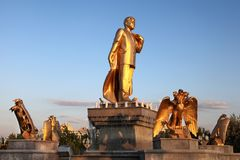 Niyazov monument in Independence Park. Royalty Free Stock Photo