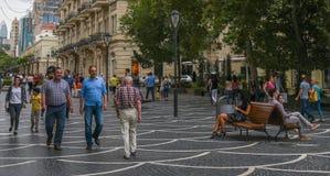 Nizami gata i Baku Arkivbild
