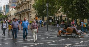 Nizamistraat in Baku Stock Fotografie