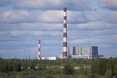 Nizhnevartovsk state district power station. Located in a working village Izluchinsk Nizhnevartovsk region of Khanty-Mansiysk, on the banks of the river Vah Royalty Free Stock Image