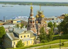 Nizhni Novgorod, Rússia, igreja de Stroganovskaya foto de stock