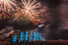 Nizhniy诺夫哥罗德州,俄罗斯- 2016年7月24日:电子音乐节日-法新社 图库摄影