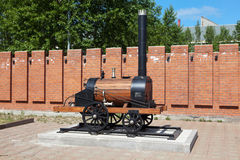 NIZHNIY TAGIL, RUSSIA - JUNE 1, 2016: Photo of Model of the first steam engine Cherepanov. Uralvagonzavod Museum. Stock Photography