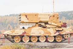 Buratino loading transport. TOS-1A system. Russia royalty free stock images