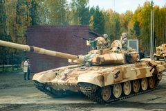 Modernized tank T-72 in motion. Russia stock photography