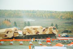 Tracked carrier DT-30P1 after water ford Royalty Free Stock Photos