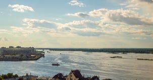 Nizhny Novgorod俄国 天定期流逝,伏尔加河的看法,奥卡和伏尔加河,下诺夫哥罗德的合流 股票录像