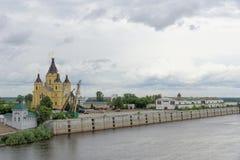 Nizhny Novgorod俄国 - 6月27日 2017年 亚历山大・涅夫斯基大教堂  免版税库存图片