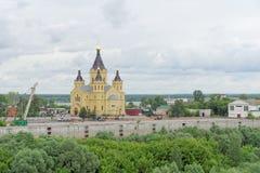 Nizhny Novgorod俄国 - 6月27日 2017年 亚历山大・涅夫斯基大教堂  免版税库存照片