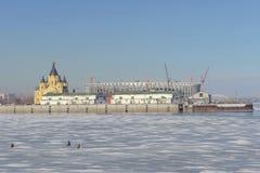 Nizhny Novgorod俄国 - 3月14日 2017年 亚历山大・涅夫斯基大教堂  图库摄影