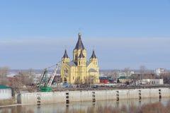 Nizhny Novgorod俄国 - 3月14日 2017年 亚历山大・涅夫斯基大教堂  库存图片