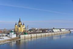Nizhny Novgorod俄国 - 3月14日 2017年 亚历山大・涅夫斯基大教堂  免版税图库摄影