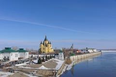 Nizhny Novgorod俄国 - 3月14日 2017年 亚历山大・涅夫斯基大教堂  库存照片