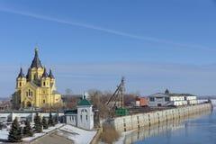 Nizhny Novgorod俄国 - 3月14日 2017年 亚历山大・涅夫斯基大教堂  免版税库存图片