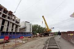 Nizhny Novgorod俄国 - 9月06日 2017年 住宅复杂议院的建筑被找出的自由的 免版税库存照片