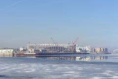 Nizhny Novgorod俄国 - 3月14日 2017年 体育场的建筑在世界杯足球赛的下诺夫哥罗德2018年 免版税库存照片