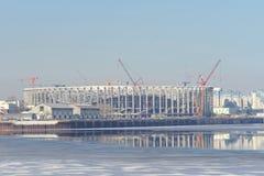 Nizhny Novgorod俄国 - 3月14日 2017年 体育场的建筑在世界杯足球赛的下诺夫哥罗德2018年 图库摄影