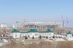 Nizhny Novgorod俄国 - 3月14日 2017年 体育场的建筑在世界杯足球赛的下诺夫哥罗德2018年 库存图片