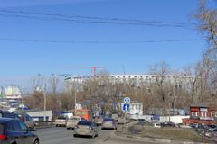 Nizhny Novgorod俄国 - 3月14日 2017年 体育场的建筑在世界杯足球赛的下诺夫哥罗德2018年 免版税图库摄影