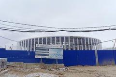 Nizhny Novgorod俄国 - 12月1日 2017年 体育场的建筑在世界杯足球赛的下诺夫哥罗德2018年 免版税库存照片