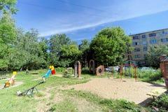 Nizhny Novgorod俄国 - 6月30日 2016年 儿童街道的Zalomova ` s操场 库存照片