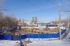 Nizhny Novgorod俄国 - 3月14日 2017年 地铁车站列宁广场的建筑 库存图片