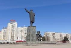 Nizhny Novgorod俄国 - 3月14日 2017年 对弗拉基米尔・伊里奇・列宁的纪念碑列宁广场的 免版税图库摄影