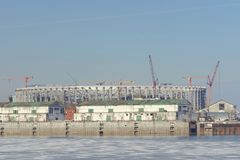 Nizhny Novgorod俄国 - 3月14日 2017年 橄榄球场的建筑 免版税库存照片
