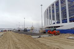 Nizhny Novgorod俄国 - 12月1日 2017年 疆土的成就在橄榄球场附近的在下诺夫哥罗德 免版税库存照片