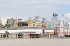 Nizhny Novgorod俄国 - 7月20日 2017年 的下诺夫哥罗德的主楼的大厦的修理公平 免版税库存照片