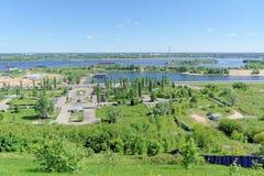 Nizhny Novgorod俄国 - 6月15日 2018年 胜利公园看法从喀山下降的 免版税库存照片