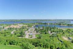 Nizhny Novgorod俄国 - 6月15日 2018年 胜利公园看法从喀山下降的 库存照片