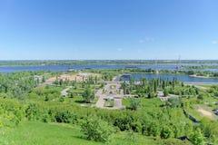 Nizhny Novgorod俄国 - 6月15日 2018年 胜利公园看法从喀山下降的 免版税图库摄影