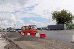 Nizhny Novgorod俄国 - 7月20日 2017年 路面的修理在列宁广场 图库摄影