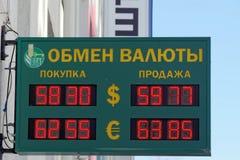 Nizhny Novgorod俄国 - 3月14日 2017年 银行Rosselkhozbank下诺夫哥罗德的记分牌交换 库存图片