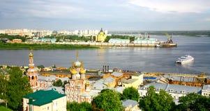 Nizhny Novgorod都市风景7月的早晨 免版税库存图片
