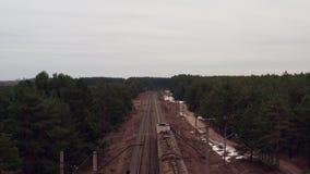 Nizhny Novgorod- 12 Απριλίου 2019 Εναέρια άποψη του τραίνου απόθεμα βίντεο