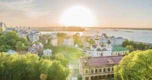 Nizhny Novgorod, Ρωσία Χρόνος-σφάλμα ημέρας, άποψη του ποταμού του Βόλγα, η συμβολή του Oka και Βόλγας, το Nizhny Novgorod απόθεμα βίντεο