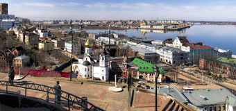 Nizhny Novgorod, взгляд от Кремля к части реки th Стоковое фото RF