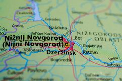 Nizhny Novgorod на карте Стоковые Фотографии RF