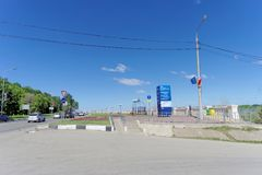 nizhny novgorod Россия - 15-ое июня 2018 Начало заново построенного обваловки Nizhnevolzhskaya на банках  Стоковое фото RF