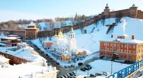 Nizhny Novgorod 2月克里姆林宫视图 库存照片