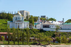 Nizhny Novgorod. Alekseevskaya Church and the Annunciation Monastery. View of the Annunciation Monastery and Alekseevskaya Church from the Chernigov Street in Stock Photo