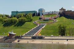 Nizhny Novgorod Ansicht der Chkalov-Treppe von der Wolga Lizenzfreie Stockfotos