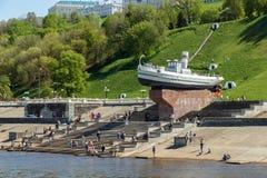 Nizhny Novgorod. Boat Hero under the Chkalov Stairs in weekend royalty free stock photos