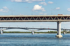 Nizhny Novgorod bridges. Merge of the Oka and Volga Rivers. View of the Metro Bridge and Kanavinsky Bridge from the Oka River in Nizhny Novgorod Stock Photography